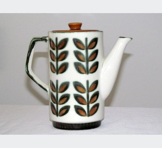 Ceramic Coffee Pot, Brown and dark green with a handpainted geometric retro leaf design, 1960s, Boch Belgium, 19 cm /7.5 in H