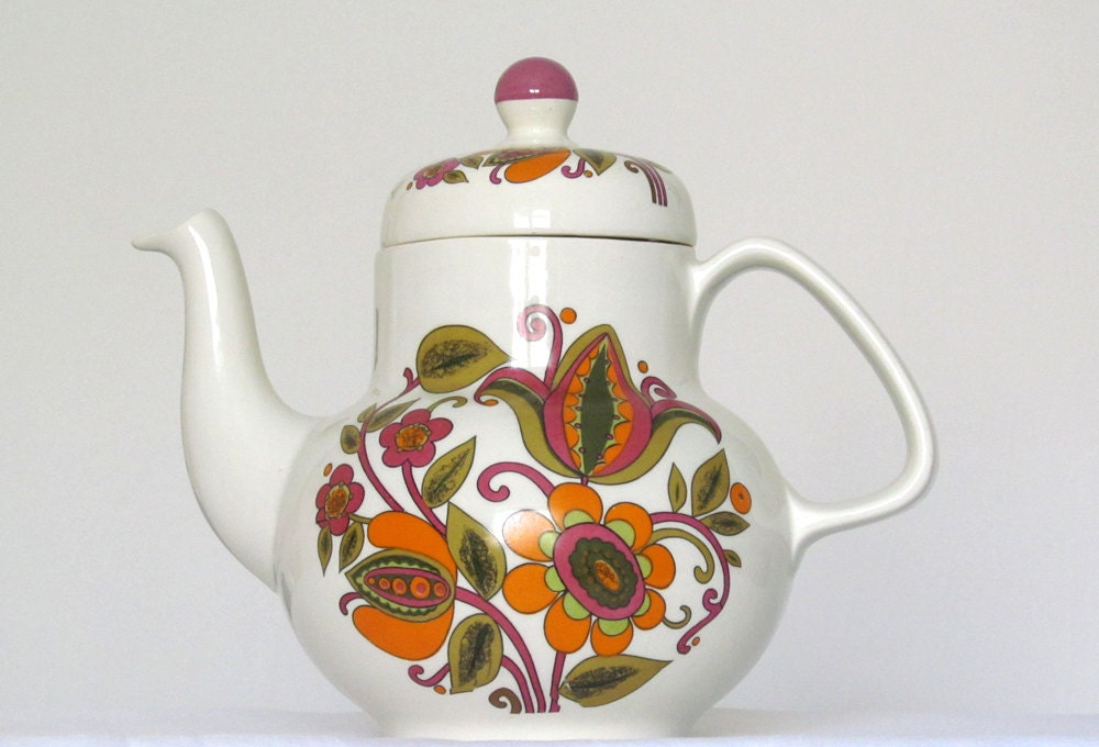 Ceramic Coffee Tea Pot Orange Olive Green Violet Lime