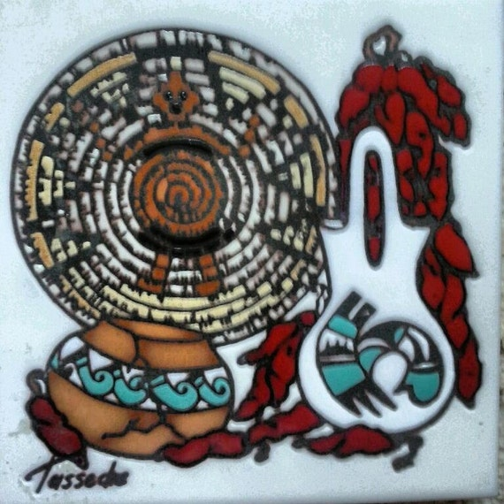 Cleo teissedre native american tile by authentake on etsy for Native american tile designs