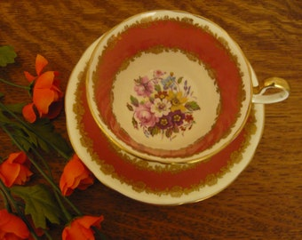 Vintage Aynsley  Bone China teacup and saucer Made in England Floral Motif with Burnt Orange and White 1934-39