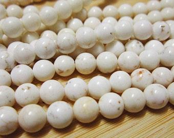 """15"""" 6mm Nature White Turquoise round beads, howlite round beads"""
