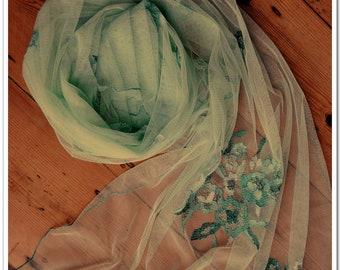 Hand embroidered lace bridal wedding evening wrap shawl scarf,mantilla