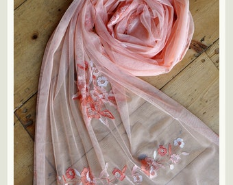 Hand embroidered lace bridal wedding evening wrap shawl scarf