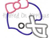 Girly Football Helmet Applique Design