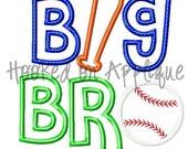 Big Bro Baseball Applique Design - BUY 3 get 1 FREE-