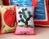 Nopal (cactus) Mexican Loteria Mini Pillow with Lavender - Dia De Los Muertos / Day of the Dead, Mexican party favor