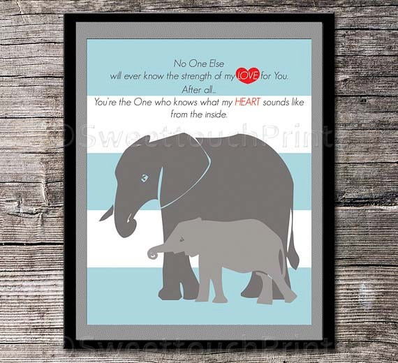 Elephant mom and the little one Love quote by SweettouchPrints - photo#2