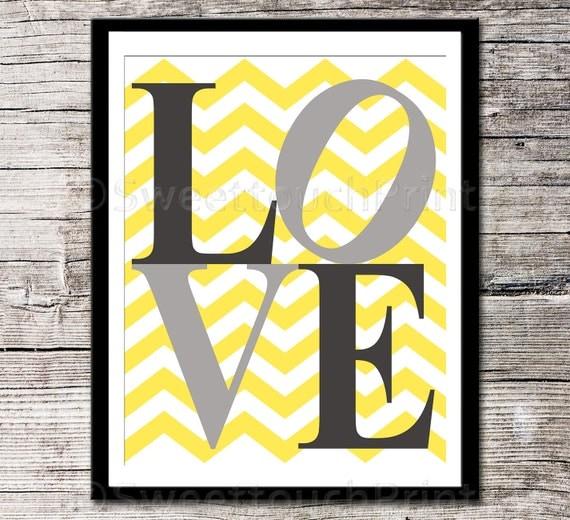 items similar to love print yellow grey nursery decor 8x10 kids room art inspirational. Black Bedroom Furniture Sets. Home Design Ideas