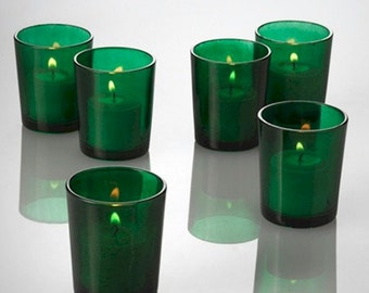 Green Votive Candle Holders