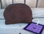 Brown Ultra Suede Bigger Odorless No Smell Zipper Keychain Pouch