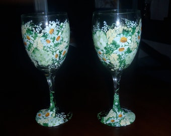 Hand Painted, personalized Toasting Glasses for Weddings (with personalized secret message inside)