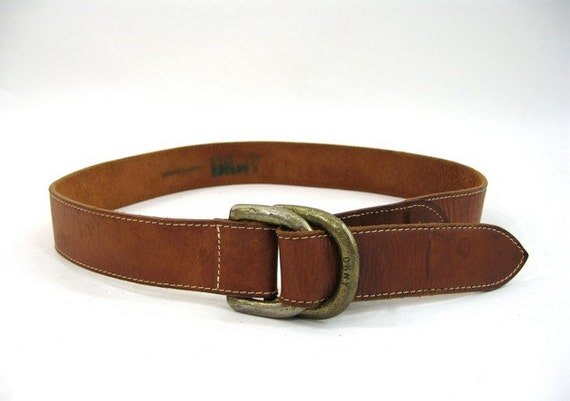wide brown leather dkny belt chunky brass d ring belt m
