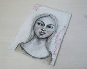 original art painting soulful girl neutral grey gray modern folk art 5x7 inches on canvas board - Soft Whispers