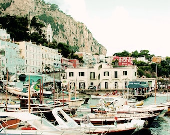 8x12 or 8x10 Vintage Capri Italy Boat  Fine Art Photograph - Travel Photography - Mediterranean Home Decor