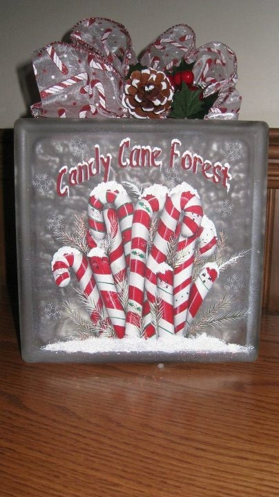 Lighted glass block candy cane - Glass block decoration ideas ...
