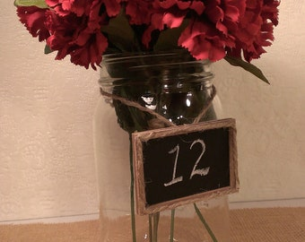 mini chalkboard signs, framed chalkboard table numbers, rustic wedding decor set of 20