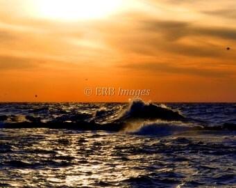Blue and Gold Sunset Fine Art Photograph Nautical Landscape