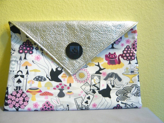 "30% off! Alice in Wonderland Japanese style cotton and metallic envelope clutch purse, nylon lined, snap closure 8""x12"""