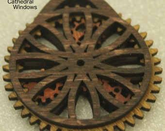 Cathedral Window Wooden Gear Christmas Ornament