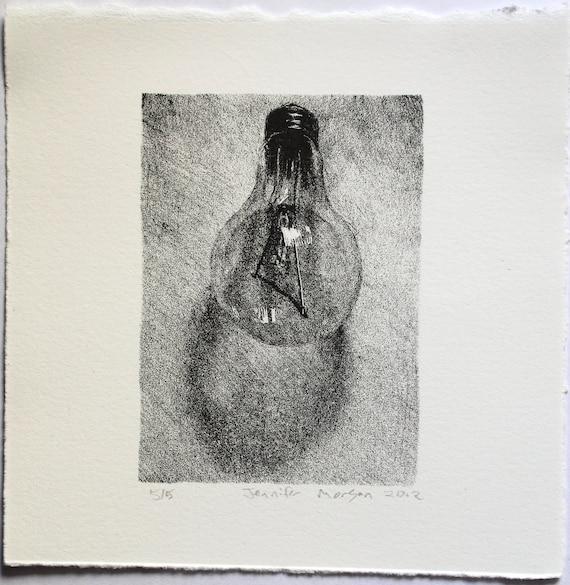 Stone litho lightbulb small still life drawing 14x14 cm