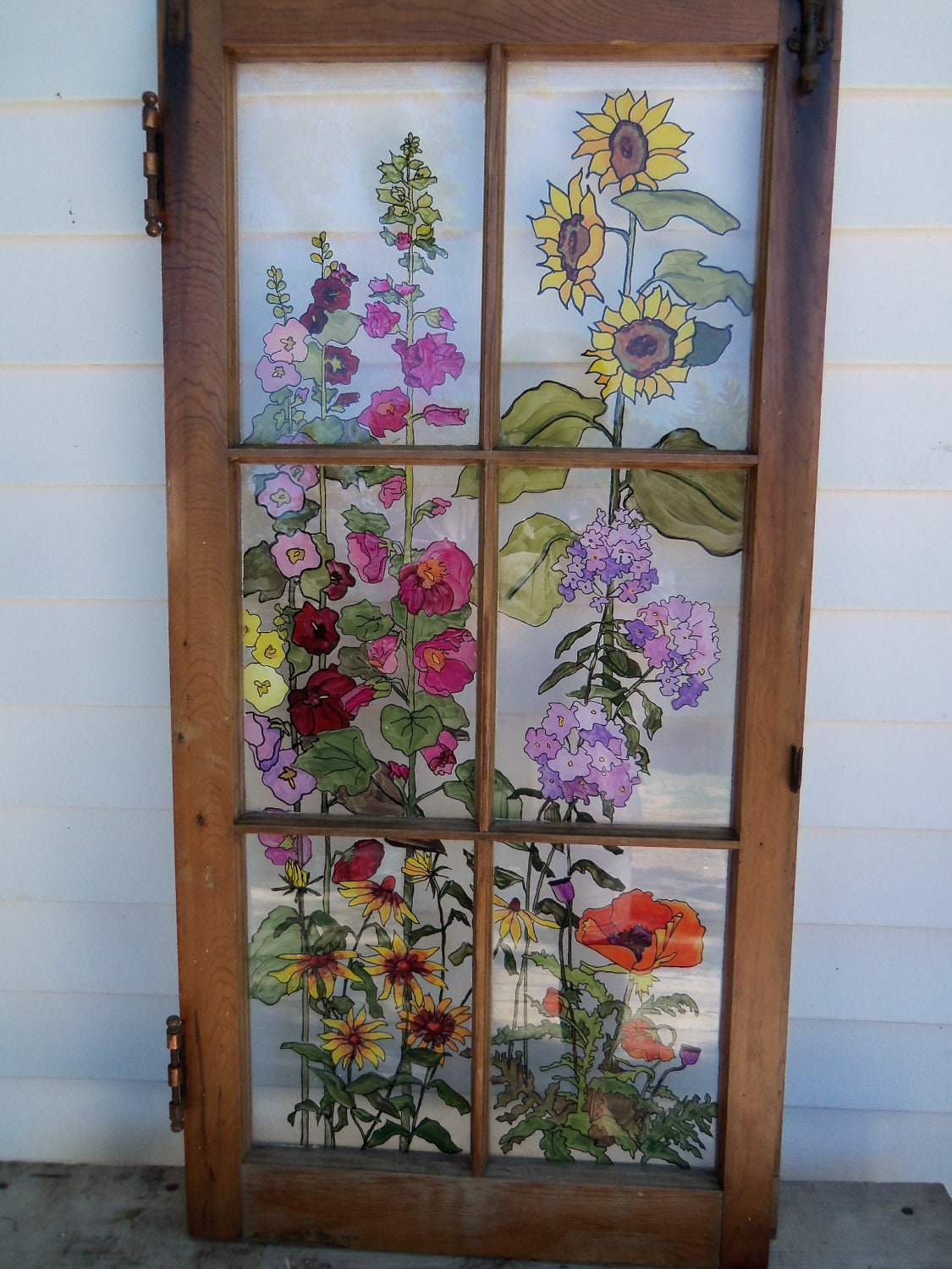 Painted vintage window grandma 39 s garden for Art glass windows and doors