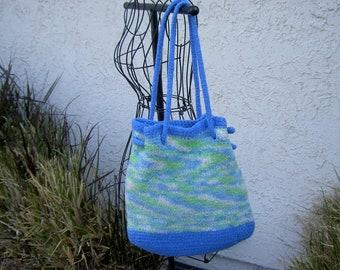 Watercolor felted tote bag