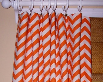 Orange Chevron Curains, Orange ZIG ZAG, Orange CURTAINS, Two Drapery Panels 50x84, Orange Chevron