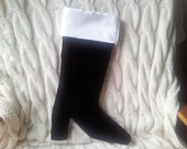 "17"" Black velvet Christmas stocking, with shitd satin cuff"