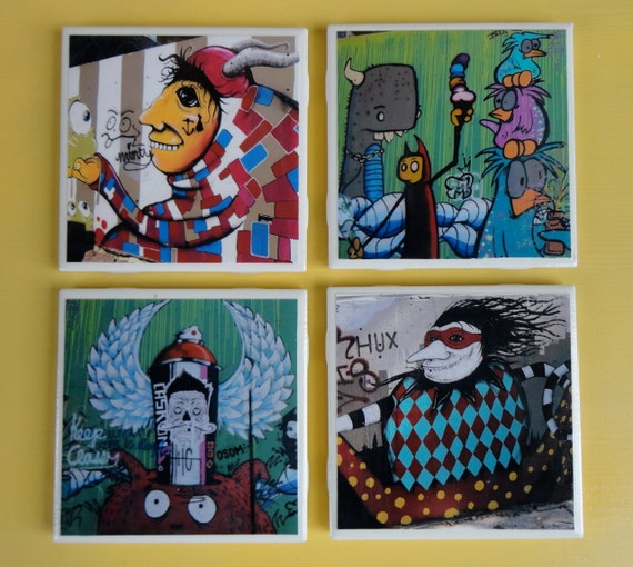 Baylor Street Art Wall: Austin Graffiti: Set Of 4 Handcrafted Ceramic By Lauerland