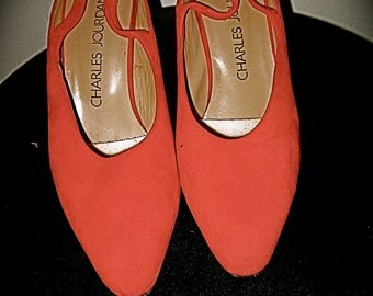 Charles Jourdan Red Suede Slingbacks, early 1990's, 2 and 1/2 inch heel, size 51/2 M, but will fit a 6