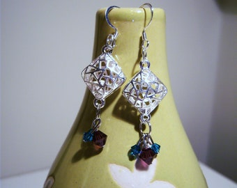 Silver earrings with purple and green swarvoski crystal beads