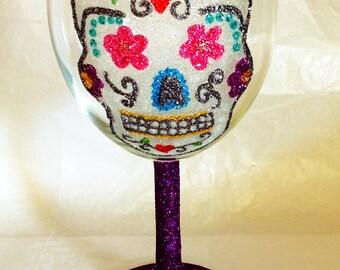 Glitter skull wine glass