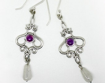 Victorian Style Earrings with Two Different Gem Stones. .