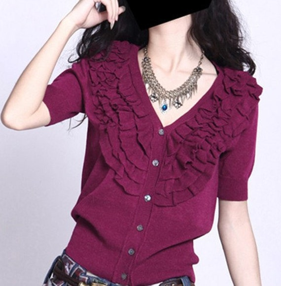 black /red/grey/ green cardigan V collar with short sleeve cardigan wool women cardigan Autumn--SW017