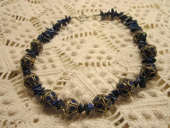 Genuine Lapis Lazuli chip and chunky bead necklace