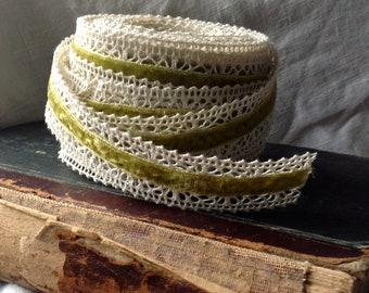 velvet crochet ivory and sweet pea green ribbon