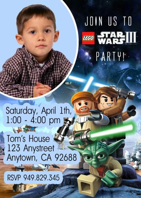 Items similar to Lego Star Wars Clone Wars Invitations birthday – Lego Star Wars Birthday Invitations