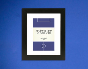 """Book Clubs: """"Stockport"""" A4 Football Print in blue and white."""