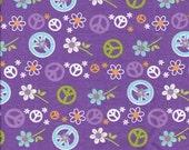 Purple Fabric Peace Symbol Quilting Cotton Fat Quarter