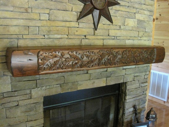 Items Similar To Rustic Fireplace Mantel With Carved Oak