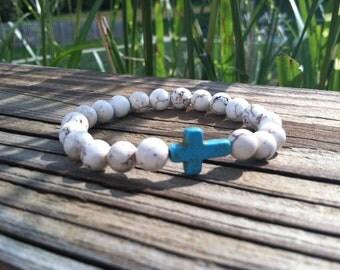 White Howlite with Turquoise Sideways Cross Bead Bracelet