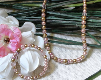 Pink and Tan necklace and bracelet/pink spacers