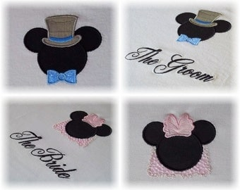 Custom Bride and Groom Mister and Miss Mouse Shirts - Magical Wedding, Anniversary or Honeymoon