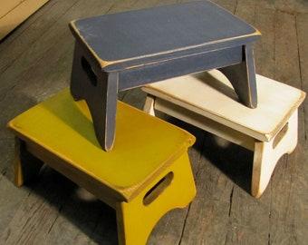 Primitive Child's Stool - Your Choice of Colors - Rustic Style Small Step Stool