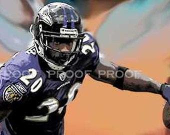 New Ed Reed Baltimore Ravens Art Print LE 50 12x18