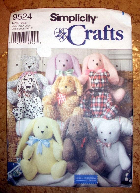 Simplicity Crafts 9524 Easy 14 Inch Bear Dog Bunny Pattern