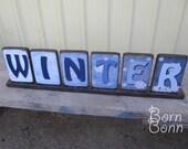 WINTER Decor Wood Block Display for winter & Christmas Season