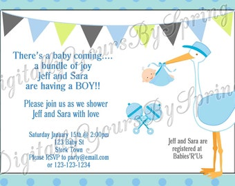 Printable Baby Shower Invitation - Stork - You Print DIGITAL FILE