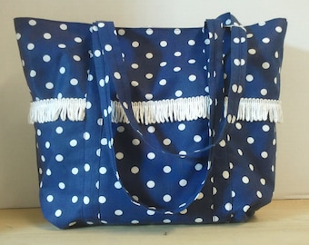 Blue and White Polka Dot Tote Bag