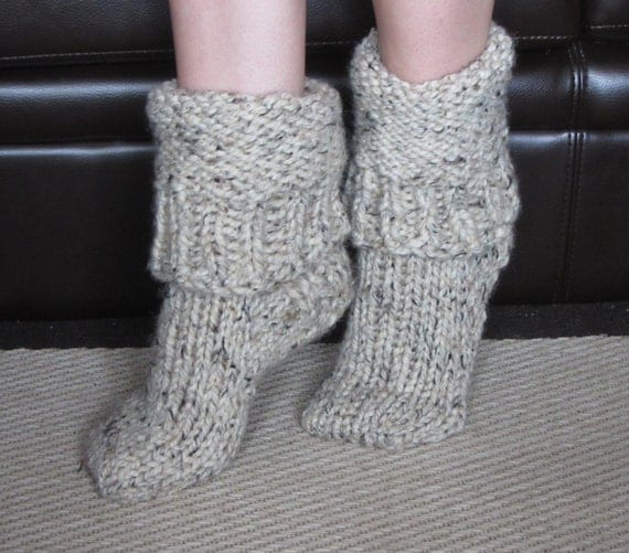 Knitting Pattern Chunky Bed Socks : Chunky Wool Slipper Socks size medium US 7-8
